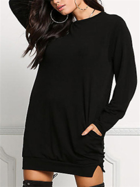 Black Oversize Round Neck Mini Shirt Dress