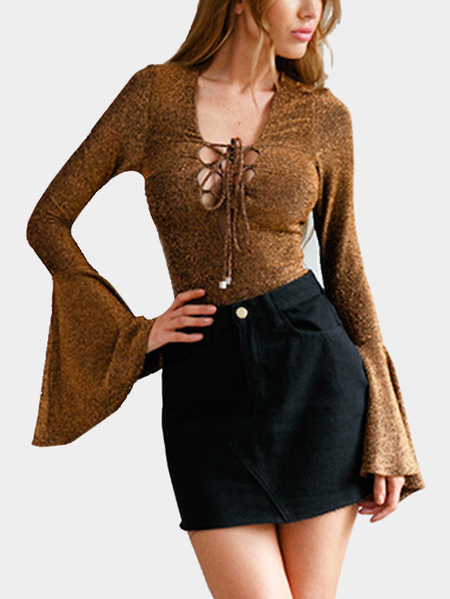 Gold Deep V-neck Criss-cross Lace-up Design Long Bell Sleeves Bodysuit