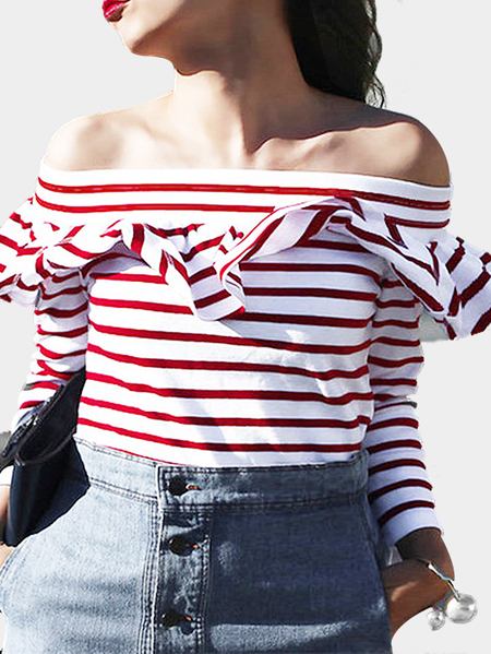 Red Stripe Pattern Off Shoulder T-shirt with Frill Details