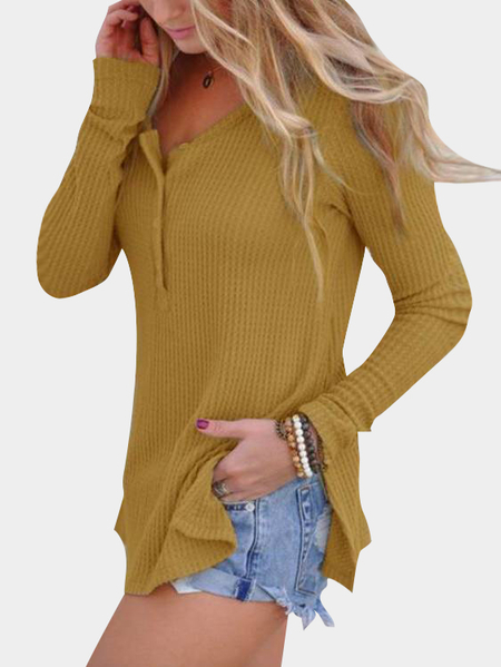 Yellow Side Splited Round Neck Long Sleeves Knitwear