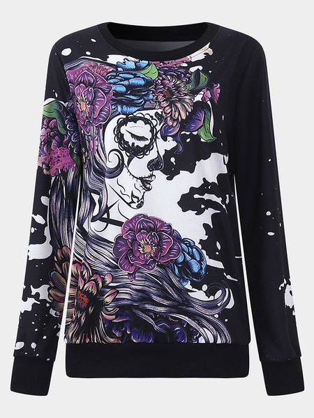 Active Halloween Floral Print Sports Sweatshirts in Black