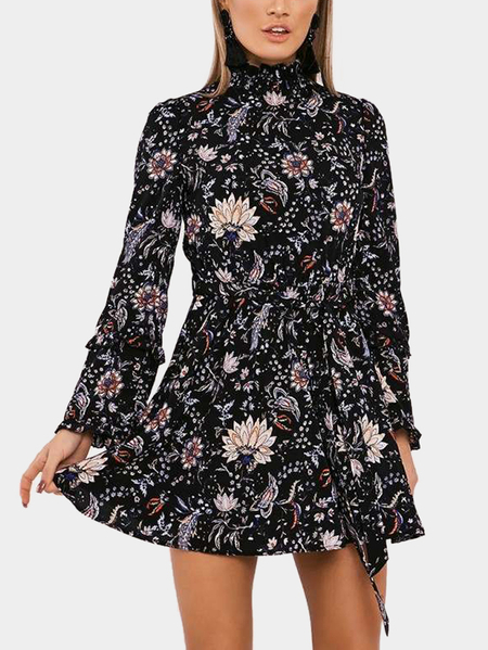 Black Random Floral Print High Neck Long Sleeves Mini Dress