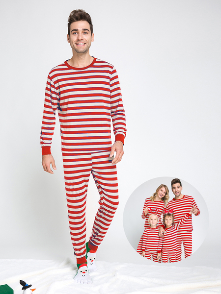 Red Stripe Pattern Bodycon Family Matching Christmas Pajamas Sets-Dad