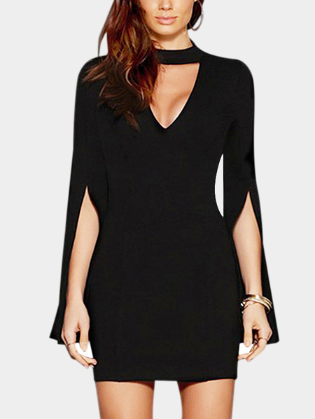 Black Sexy V-neck Split Flared Sleeves Body-con Dress