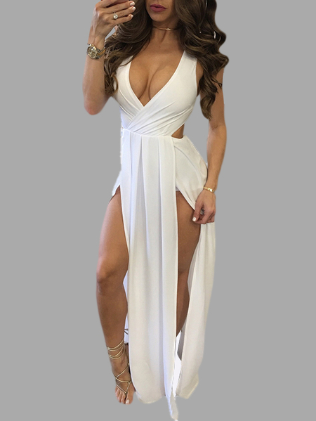 White V Neck Backless Maxi Dress With Splited Hem
