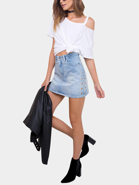 White Sexy Cold Shoulder Ripped Details T-shirt
