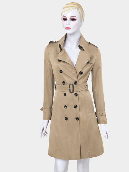 Khaki Casual Lapel Collar Double Breated Slim Trench Coat