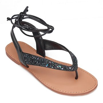 Multi Color Glitter Embellished Lace-up Flat Sandals