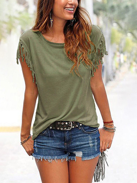 Army Green Scoop Neck Camiseta con detalles de borla