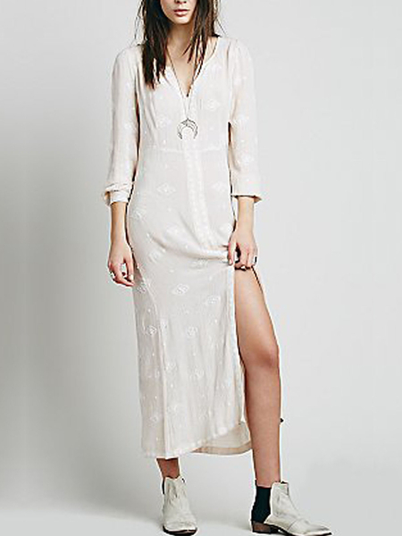 3/4 Length Sleeves Front Split  Embroidery Midi Dress in White