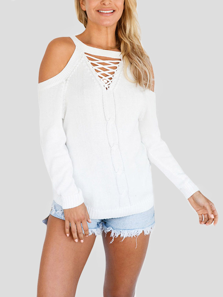 White Knitting Lace-up Cold Shoulder Top