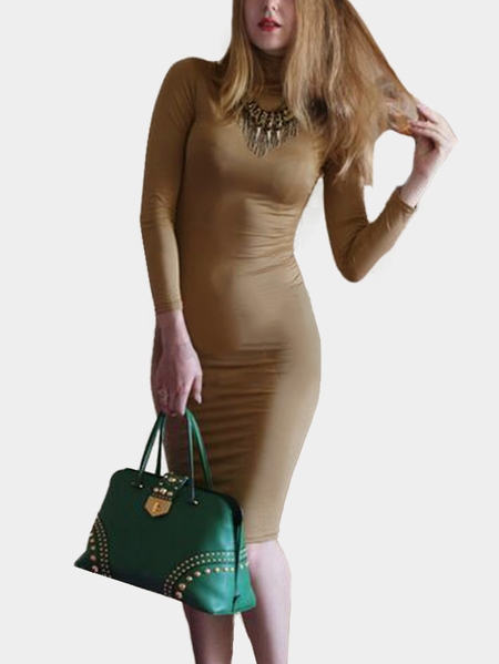 Khaki Solid Color High Neck High Waist Midi Dresses