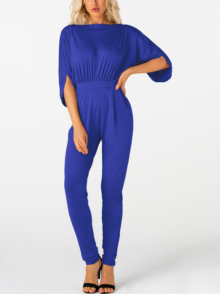 Royal Pleated Design Half Sleeves Jumpsuit