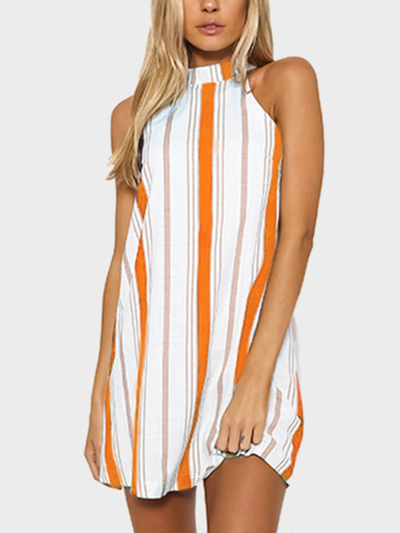 Orange Stripe Halter Neck Mini Dress