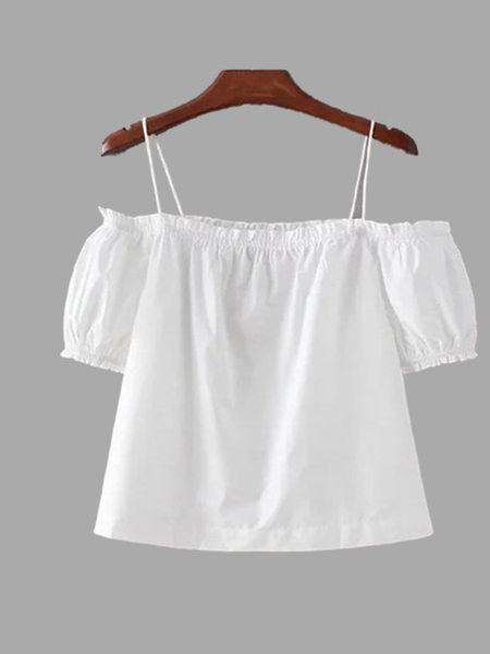 White Cold Shoulder Thin Strap Top
