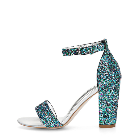 Green Sequin Ankle Strap High Heeled Sandals