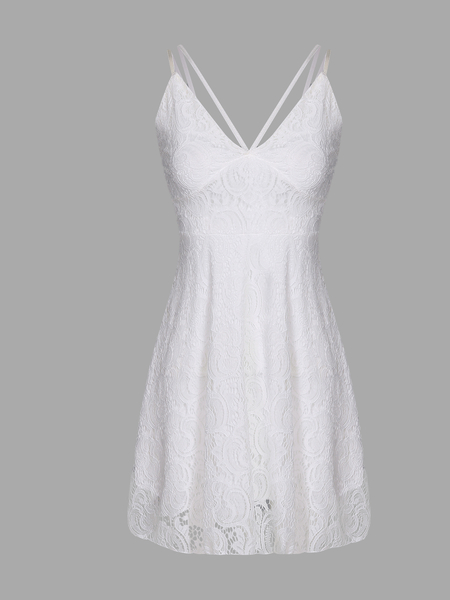 White Plunge Lace Pleated Strappy Cami Dress with Lining