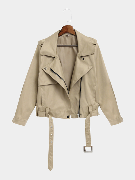 khaki Lapel Collar Trench Coat With Waist Belt