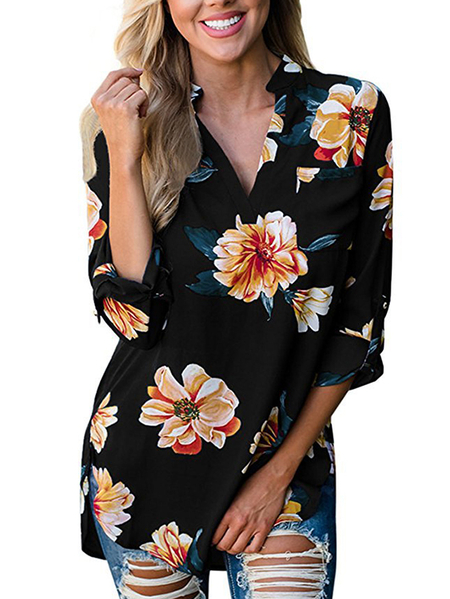 Black Random Floral Print V-neck Long Sleeves Blouses
