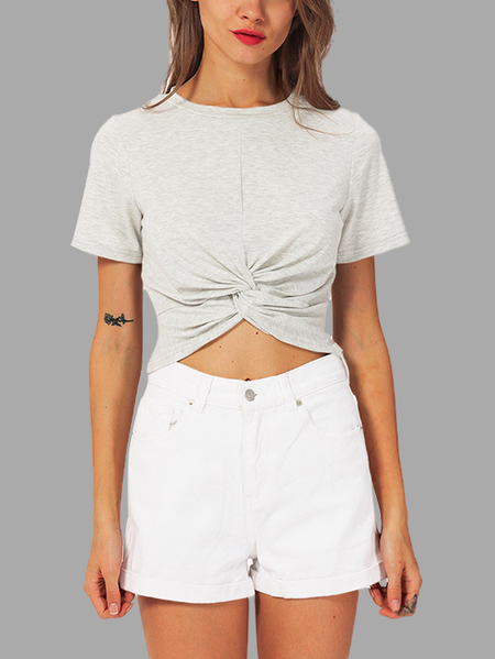 Light Grey Self-tie Short Sleeves Crop Top