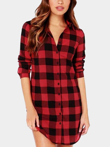Red Casual Grid Pattern Gekrümmte Hem Long Shirt
