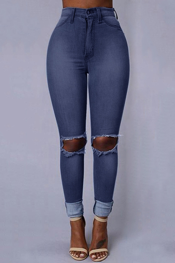 Blue Fashion Middle Waist Ripped Skinny Jeans