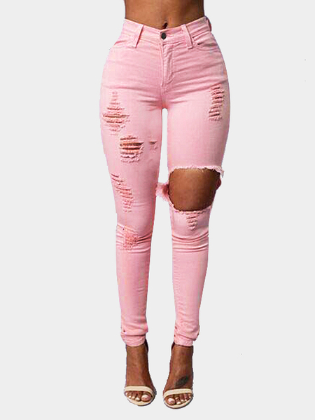 Ripped High-Rise Skinny Jean in Pink