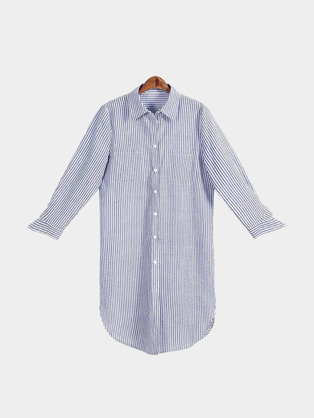 Blue And White Stripe Pattern 3/4 Length Sleeves  Shirt