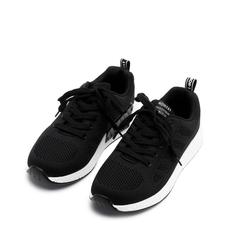 Black Casual Mesh Round Toe Lace-up Sneakers