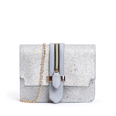 Grey Sequins Zip Design Crossbody Bags