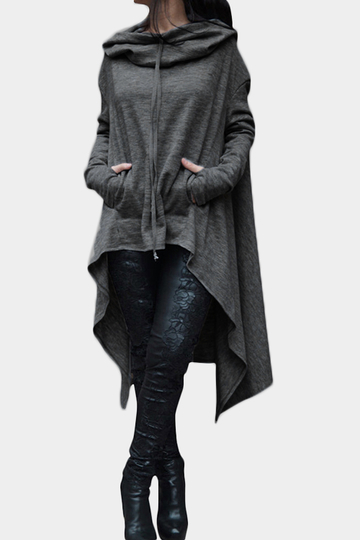 Dark Grey Hooded Design Long Sleeves Sweatshirt