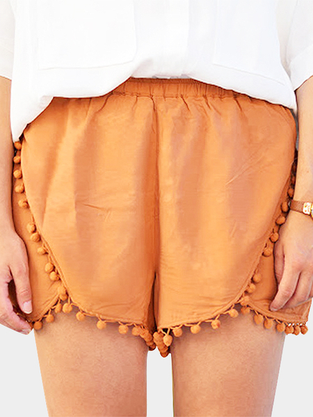 Orange Simple Shorts With Tassel Hem