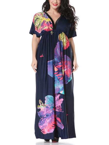 Plus Size Flower Print V-neck Casual Maxi Dress in Royal Blue