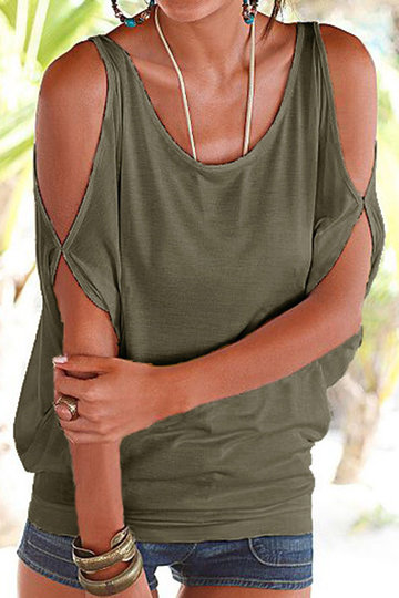 Army Green Scoop Neck Cold Shoulder Tie-up at Back Tee