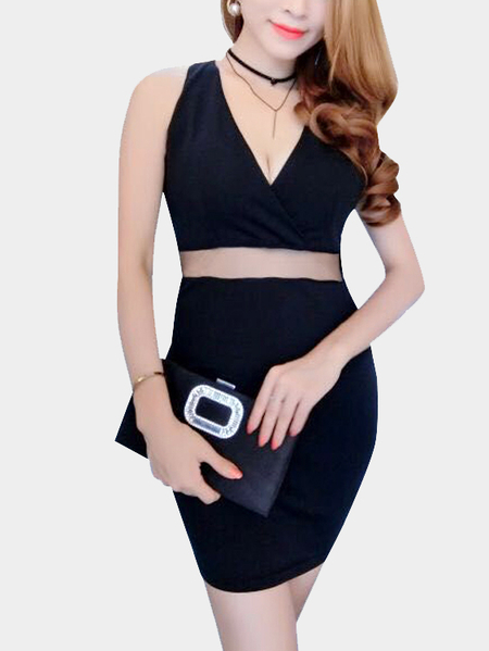 V Neck Halter Design Backless See-through Waist Party Dress