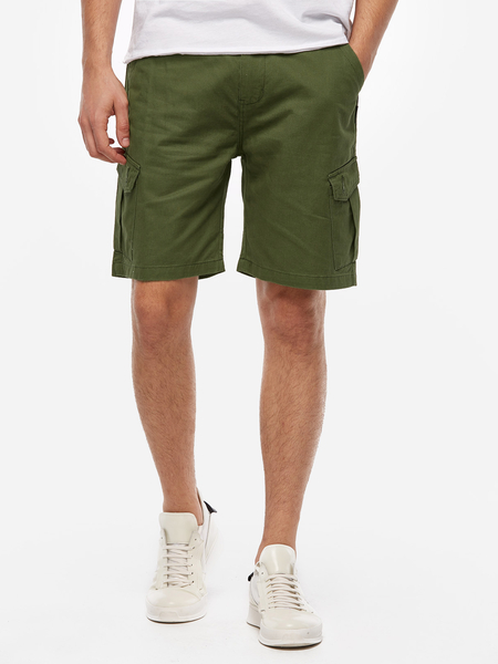 Army Green Work Style Six Pockets Middle Waist Men's Cotton Shorts