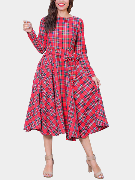 Red Grid Pattern Long Sleeves Self-tie Waist Dress