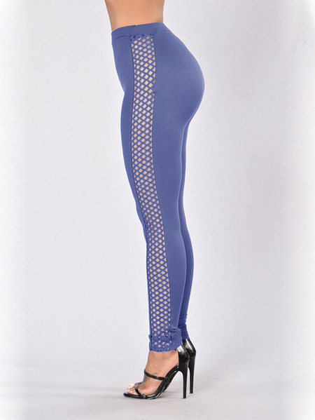 Light Blue Hollow Design High Waisted Leggings