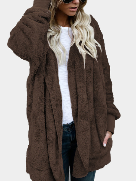 Coffee Hooded Lapel Collar Long Sleeves Sweaters Coat