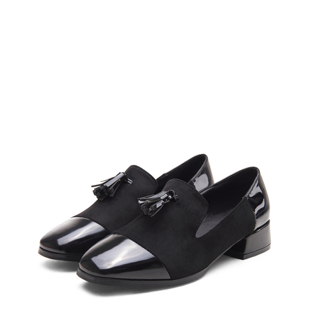 Black Leather and Suede Look Square Toe Tassel Slip-on Loafers