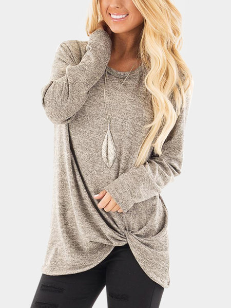Taupe Crossed Front Design Plain Round Neck Long Sleeves T-shirt