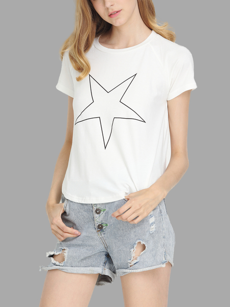 Star Pattern High-low hem T-shirt