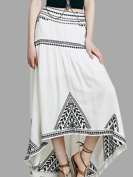 Embroidery Maxi Skirt with High Low Hem