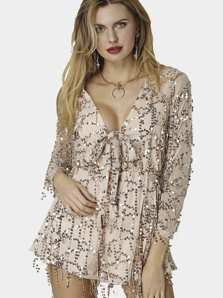 Khaki Sequined V-neck Long Sleeves Playsuit