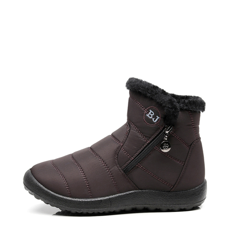 Coffee Warm Fur Lining Waterproof Antiskid Boots