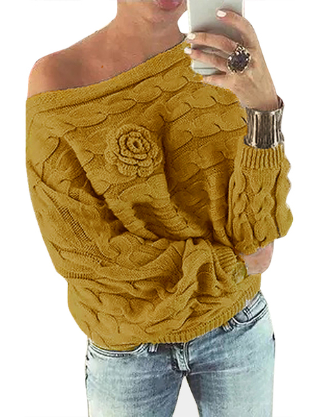 Yellow Off Shoulder Bat-wing Sleeves Random Floral Sweater