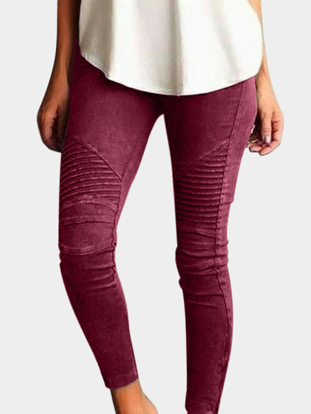 Burgundy Elasticity Bodycon High-waisted Pants