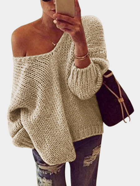 Khaki V-neck Long Sleeves Pullover Sweater