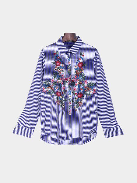 Lapel Striped Flower Embroidery Long Sleeve Shirt