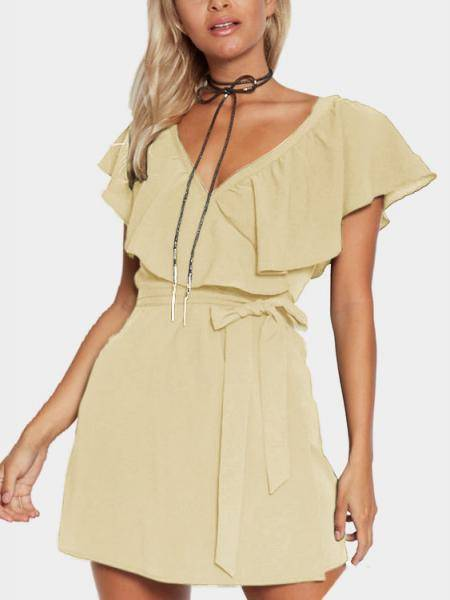 Apricot V-Neck Flounced Design Self-tie Waist Mini Dress